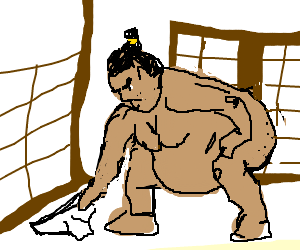 Sumo Wrestler PIcks his loincloth for the day