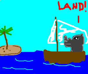 Fancy Rhino in a sailboat spies land