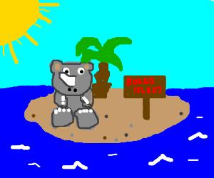 Rhino sits alone on Bored Island