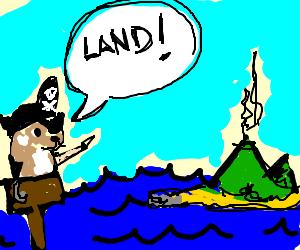 Hamtaro the pirate sights land!