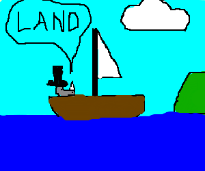 Tophat rhino sailor finds land