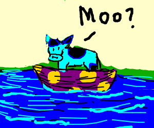 a blue cow rides a purple polkadot boat