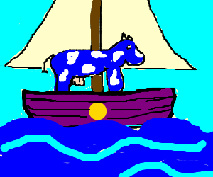 blue dairy cow sailing on purpleboat w/yellowdot