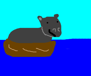 hippo on a boat!