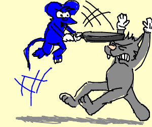 Itchy hitting Scratchy with a frying pan