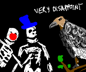 Vulture stares at skeletons with disappointment.