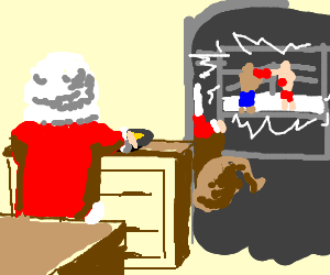 santa watching tv while wife is cooking drawception