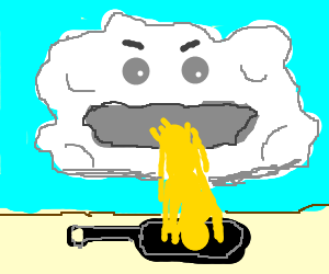 cloud vomiting egg yolk into pan