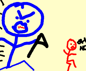 Giant blue stickman with hatchet chases red one