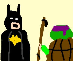 "Batman helps Donatello with his ""staff"" problem"