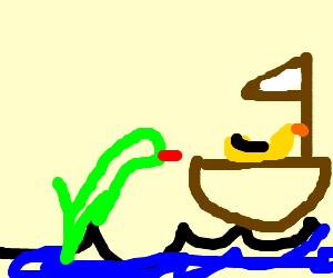 Talented Mr. Duck sailing a sailboat