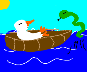 Green snake jumps out of water to a duck on boat