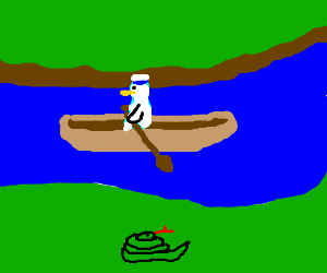 donald duck rows boat past sleeping snake