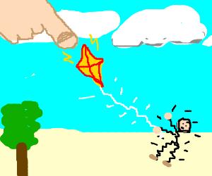 Gods finger electrifies kiteflyer via flyingkite