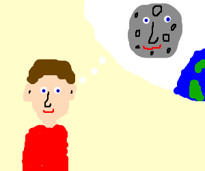 A boy imagines himself as the moon