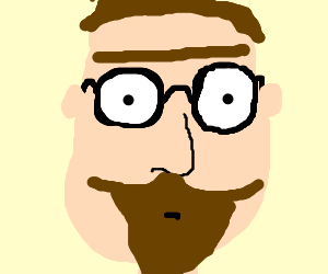 Man with unibrow and beard wearing glasses