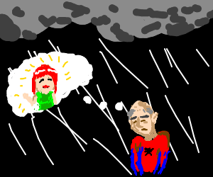 Old Spider-man thinks about MaryJane in the rain
