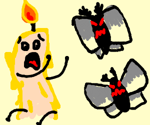 Candle-boy appears to be afraid of evil moths