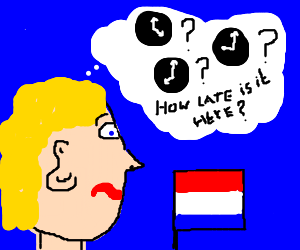 Blond head can't figure out time zone he is in!