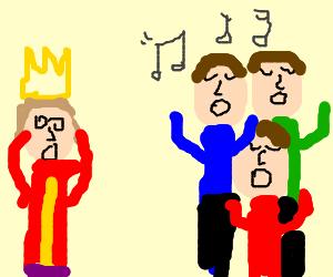king scared of three singing blue-eyed men