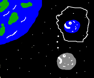 Moon is depressed he is not blue like the earth.