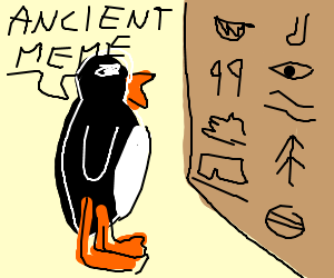Penguin archaeologists deciphering hieroglyphics