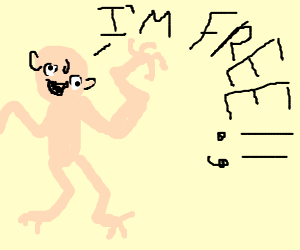 "disfigured person saying ""I'm Free"""