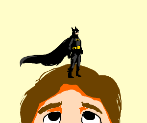 Batman on top of boys head.