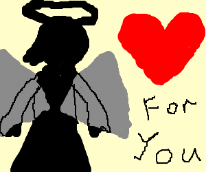 Silhouette of angel brings a gift of love.