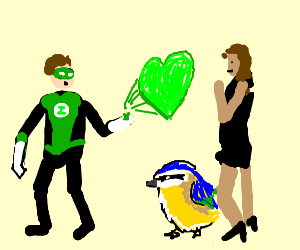 greenlantern showin his love to big titted woman