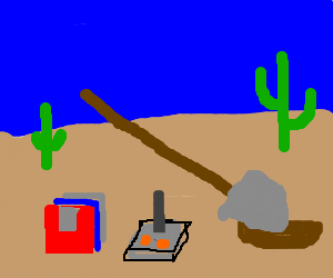 burying floppy disks and joystick in the desert