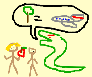 Serpent tells Adam & Eve that trees = airplanes