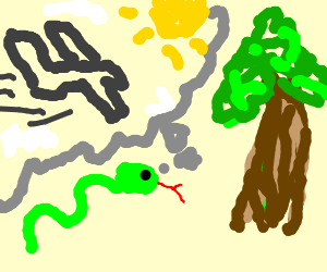 Snake tells adam and eve, tree = airplane