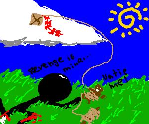 Man with broken leg ties gingerbread man to kite