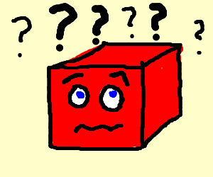 puzzled looking red cube