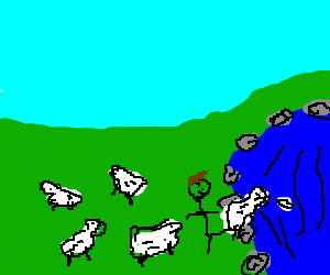 god durn sheep gon lern them sum swimmin