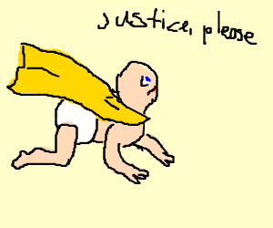 Baby in a yellow cloak requests justice