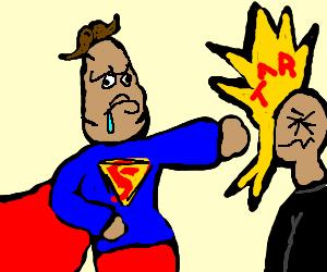 retarded superman beating criminal