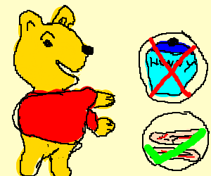 """Winnie the Pooh says """"Bacon is the new yum yum."""""""