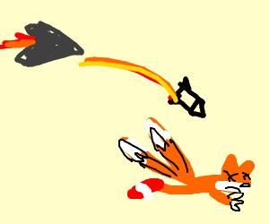 Mini-jet shoots gay missle, kills sonic's friend