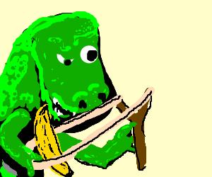 T-rex fires banana from slingshot