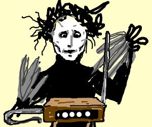 edward scissorhands tries to play an instrument