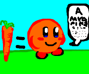 Carrots improve Kirby's vision, make him orange