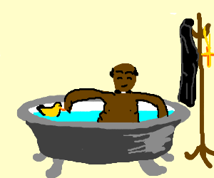 black priest taking a bath with yellow duck