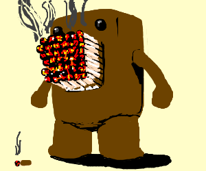 Domo likes to smoke cigaretts