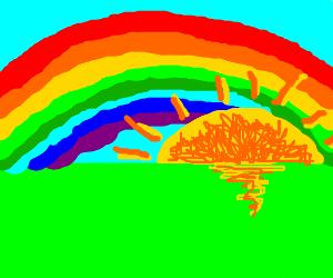 The sun sets in rainbowland