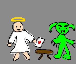 Angel plays cards with big green monster