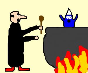 Gargamel broils a smurf