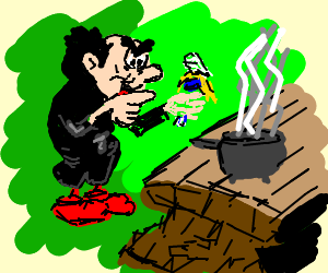 Gargamel puts smurfs in a cooking pot
