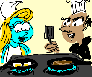 Gargamel and Smurfette will cook together